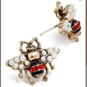 Amrita Singh Jewelry - Ruby Red Bumble Bee Stud Earrings